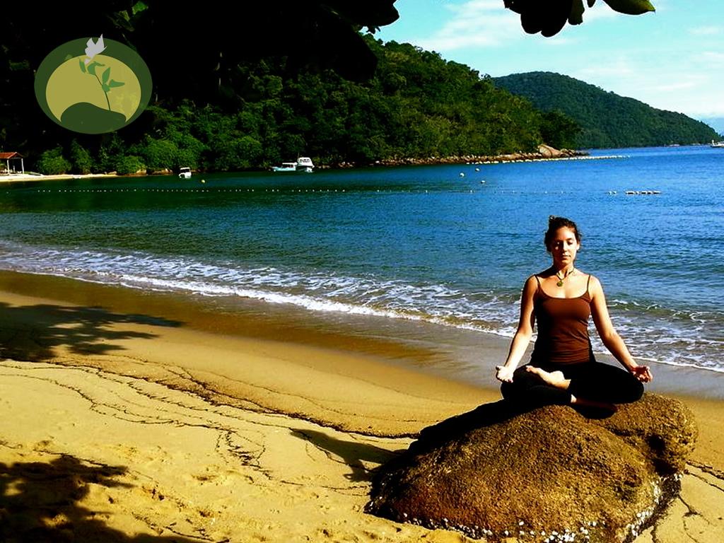 Dani Zimetbaum Yoga Teacher Ardha Padmasana Green Stone Journeys Wellness Tours Brazil